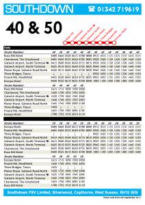Southdown PSV 40.50 Timetable<