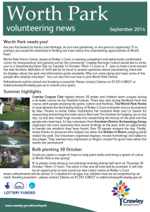 Worth Park Volunteering News 01-09-2014