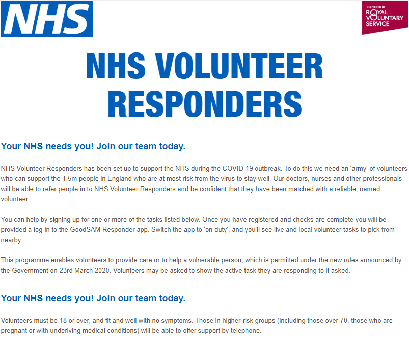 NHS Volunteers Responders